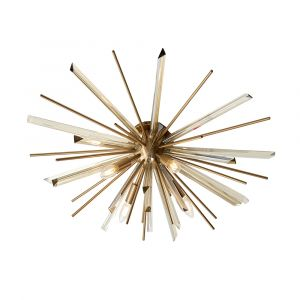 Skyros 4 Light E14 Antique Brass Plated Flush Fitting With Champagne Triangular Prism Glass & Antique Brass Decorative Rods