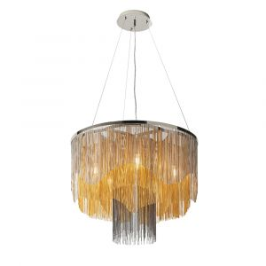 Andal 5 Light E14 Bright Nickel Adjustable Chandelier With Delicately Hand Dressed With Thousands Of Fine Black & Gold Chains
