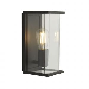 Parnell 1 Light E27 Dark Grey IP44 Outdoor Wall Light With Clear Glass Shade