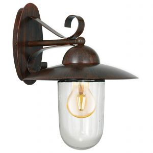 Milton 1 Light E27 Outdoor IP44 Wall Light Antique Brown With Clear Glass