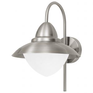 Sidney 1 Light E27 Outdoor IP44 Wall Light Stainless Steel With Opal Glass