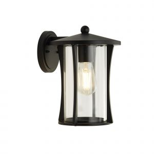 Lupton 1 Light E27 Black IP44 Outdoor Wall Light With Clear Glass Shade