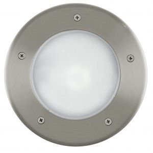 Riga 3, 1 Light Low Energy E27 Outdoor IP67 Recessed Ground Light Stainless Steel With White Glass