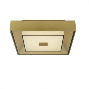 Wedigo 1 Light 11W 651lm Integrated LED Brushed Gold Flush Square Fitting With Clear Glass & Crystal Sand