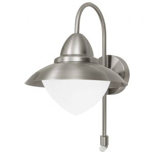Eglo-87105 Sidney Single PIR Outdoor Wall Light Stainless Steel/Stainless Steel/Opal Glass/White Finish