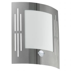 City 1 Light E27 PIR Sensor Outdoor IP44 Stainless Steel Wall Light With Plastic White Diffuser