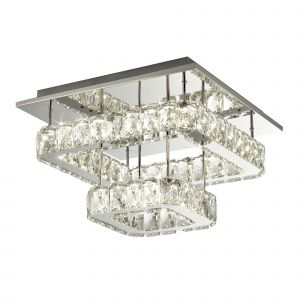 Anndale 1 Light 30W 1220lm Integarted LED Polished Chrome 2 Tier Flush Fitting With Crystal Glass Shade