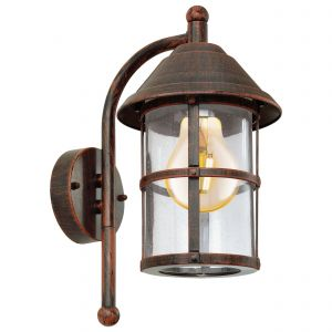 San Telmo 1 Light Outdoor IP44 E27 Wall Light Antique Brown With Clear Glass