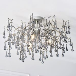 Lester 3 Light E14 Aged Silver Semi Flush Branch Chandelier With Smokey Grey Tinted Glass Droplets