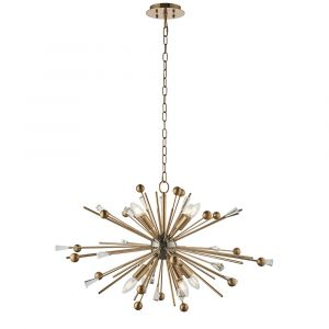 Carrara 8 Light E14 Aged Brass & Black Nickel Adjustable Sputnik Style Pendant With Antique Brass Rods Tipped With Clear Crystals