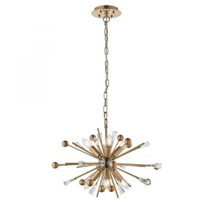 Carrara 6 Light E14 Aged Brass & Black Nickel Adjustable Sputnik Style Pendant With Antique Brass Rods Tipped With Clear Crystals