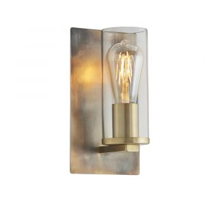 Ongio 1 Light E27 Bronze Patina Wall Light With Clear Glass Shade