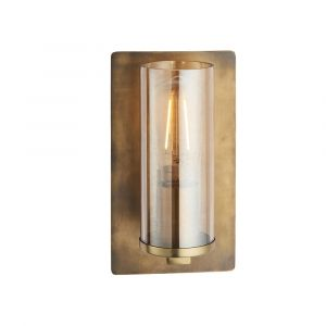 Ongio 1 Light E27 Copper Patina Wall Light With Clear Glass Shade