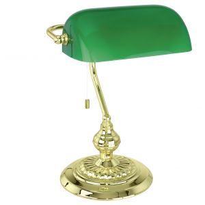 1 Light Polished Brass Bankers Table Lamp With Green Shade