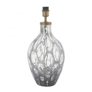 Brix 1 Light E27 Matt Antique Brass Table Lamp With Charcoal Tinted Glass Base With Inline Switch (Base Only)