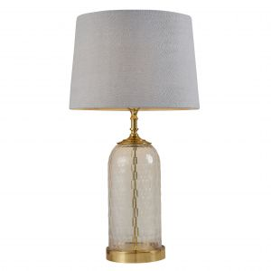 """Wistow 1 Light E27 Solid Brass Table Lamp C/W Mia 14"""" Charcoal 100% Linen Shade"""
