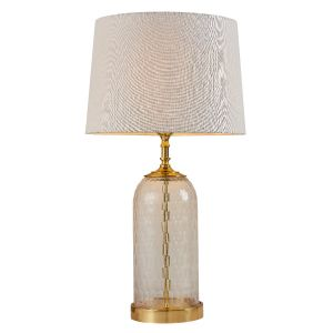 Wistow 1 Light E27 Solid Brass Table Lamp C/W Mia Natural Tapered Shade