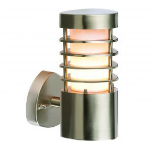 Bruton 1 Light E27 Brushed Stainless Steel IP44 Outdoor Wall Light C/W Polycarbonate Diffuser