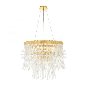 Pulpis 9 Light E14 Gold Plated Adjustable Chandelier With Glass Rods