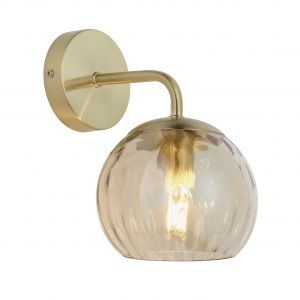 Dimple 1 Light E14 Brushed Brass Wall Light C/W Champagne Lustre Dimpled Glass Shades