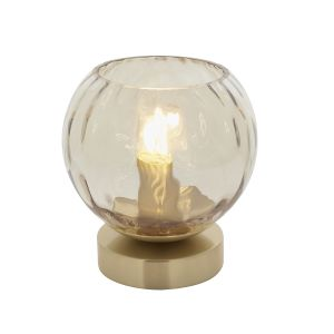 Dimple 1 Light E14 Brushed Brass Table Lamp With inline Switch C/W Champagne Lustre Dimpled Glass Shades