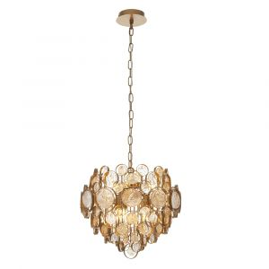 Etna 6 Light E14 Antique Gold Painted Adjustable Chandelier With Clear & Amber Glass Details