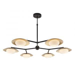 Forma 6 Light G9 Gold & Dark Bronze Adjustable Pendant With Pebble Shaped Glass Shades
