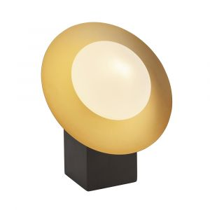 Forma 1 Light G9 Gold & Dark Bronze Table Lamp With Inline Switch With Pebble Shaped Glass Shade
