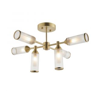 Duomo 6 Light G9 Satin Brass Semi Flush Pendant With Ribbed & Frosted Glass Shades
