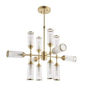 Duomo 12 Light G9 Satin Brass Adjustable Pendant With Ribbed & Frosted Glass Shades