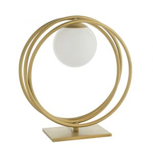 Kauri 1 Light E27 Brushed Gold Loop Table Lamp With Inline Switch C/W Opal Glass Shade