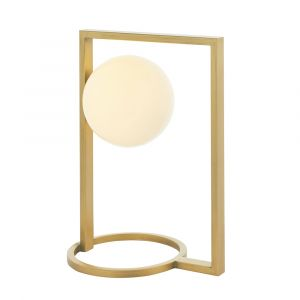 Erebor 1 Light G9 Brushed Gold Geometric Shaped Table Lamp With Inline Switch C/W Opal Glass Shade
