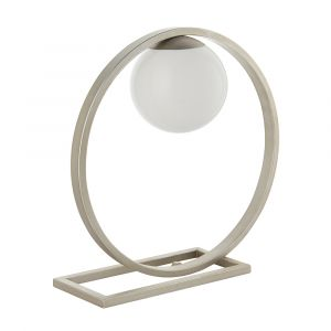Elven 1 Light G9 Brushed Silver Round Shaped Table Lamp With Inline Switch C/W Opal Glass Shade