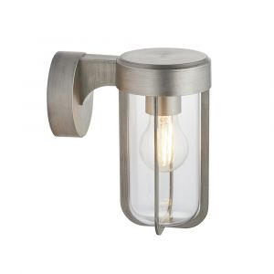 Pacato 1 Light E27 Brushed Silver Die Cast IP44 Outdoor Wall Light With Clear Glass Shade