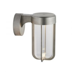 Pacato 1 Light 8W Integrated LED 2700K, 470lm Brushed Silver Die Cast IP44 Outdoor Wall Light With Clear Glass Shade