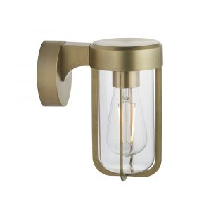 Pacato 1 Light E27 Brushed Gold Die Cast IP44 Outdoor Wall Light With Clear Glass Shade