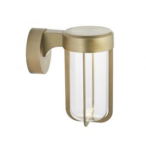 Pacato 1 Light 8W Integrated LED 2700K, 470lm Brushed Gold Die Cast IP44 Outdoor Wall Light With Clear Glass Shade