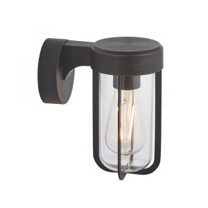 Pacato 1 Light E27 Brushed Bronze Die Cast IP44 Outdoor Wall Light With Clear Glass Shade