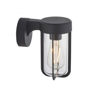 Pacato 1 Light E27 Brushed Black Die Cast IP44 Outdoor Wall Light With Clear Glass Shade