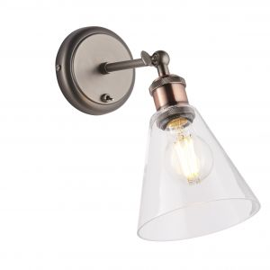 Hal 1 Light E27 Aged Pewter & Aged Copper Toggle Switched Adjustable  Wall Light C/W Clear Glass
