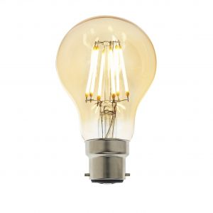 6W B22 Amber Tinted Dimmable LED Filament GLS Bulb, 2700K 550 Lumens