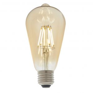 6W E27 Amber Tinted Dimmable LED Filament Pear Shaped Bulb, 1800K 550 Lumens
