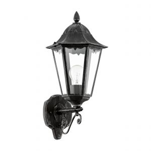 Navedo 1 Light E27 Outdoor IP44 Up Wall Light Black With Clear Glass
