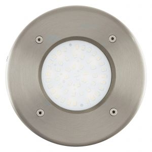 Lamedo 1 Light LED Integrated Round Recessed Ground Light IP44 Outdoor Light Stainless Steel With Satinated Glass