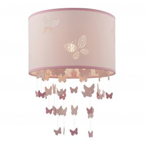 Amathea 1 Light Non-Electric Tow Tone Pink Fabric Shade With Pretty Laser Cut Butterfly Pattern