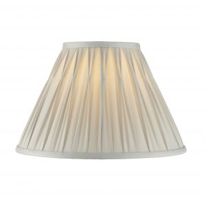 """Chatsworth 12"""" Silver 100% Silk Tapered Hand Stitched Single Pinch Pleats Fabric Shade"""