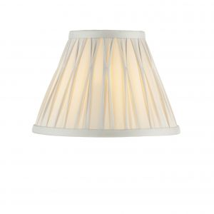 """Chatsworth 8"""" Silver 100% Silk Tapered Hand Stitched Single Pinch Pleats Fabric Shade"""