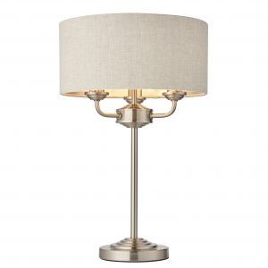 Highclere 3 Light E14 Brushed Chrome Table Lamp C/W Natural 100% Linen Fabric Shade With Brushed Metallic Inner