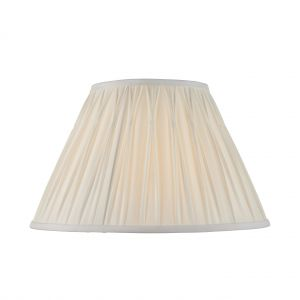 """Chatsworth 14"""" Vintage White 100% Silk Tapered Hand Stitched Single Pinch Pleats Fabric Shade"""