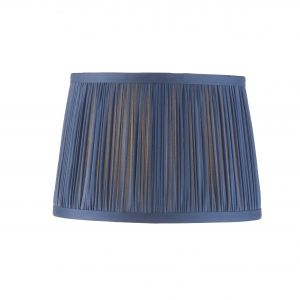 """Wentworth 8"""" Midnight Blue 100% Silk Tapered Hand Stitched Single Pinch Pleats Fabric Shade"""